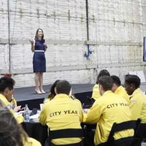 "NBCUNIVERSAL EVENTS -- ""City Year Career Day"" -- Pictured: (l-r) -- (Photo by: Evans Vestal Ward/NBC)"